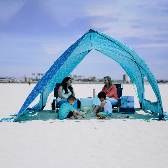 Family on beach in Lightspeed Tent